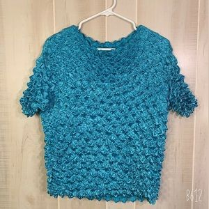 VINTAGE TEAL STRETCHY UNIQUE TOP 100% POLYESTER